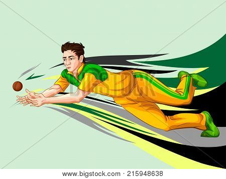 Concept of sportsman playing Cricket match sport. Vector illustration
