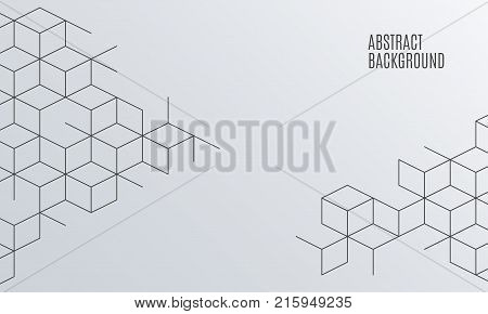 Vector abstract boxes background. Modern illustration with square mesh. Cube cell. Digital geometric abstraction with lines. Vector Illustration.