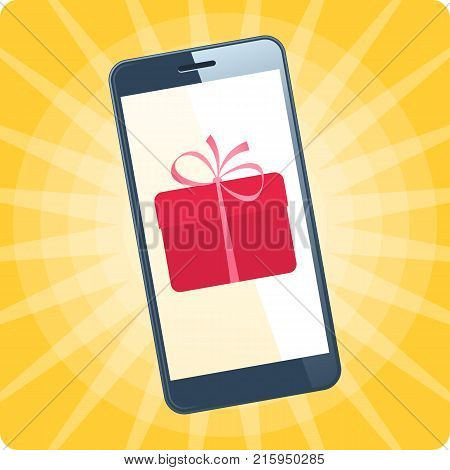 The smart phone with gift box on the screen. Flat vector illustration of smartphone on the holiday colorful background. The online store, e-shopping, gifts phone order, christmas, new year concept.