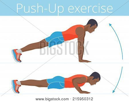 The active afroamerican man in the sportswear is doing the push up exercise. Flat illustration of young strong boy training in push-up. Vector active people set for sport, fitness design, infographic.