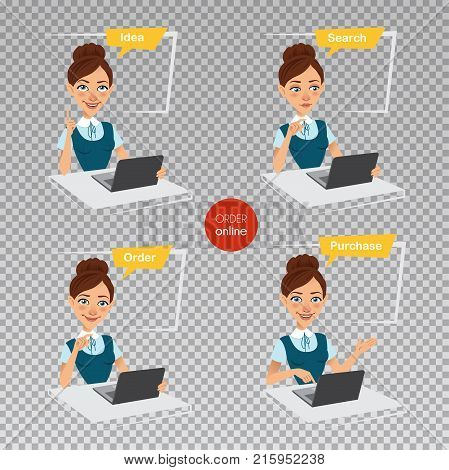 Woman makes order online. Idea, search, ordering, buying. Online shopping. Four stages of process. Woman sitting at table, working at laptop. Vector, flat illustration