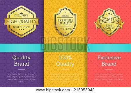 Quality brand 100 guarantee exclusive labels set of logos design on colorful posters with text vector illustrations collection on abstract background