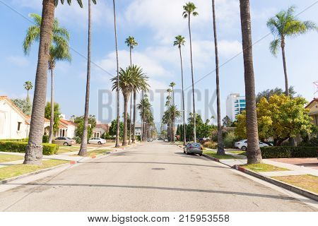 LOS ANGELES USA - AUGUST 18 2017: Typical street in Beverly Hills with houses and palm trees. Editorial.