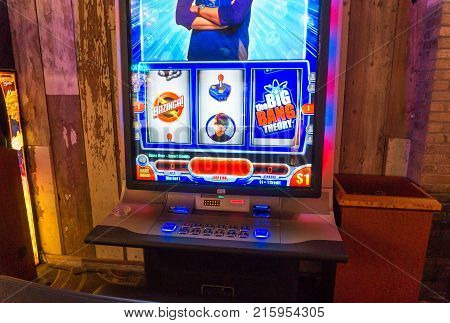 LAS VEGAS USA - AUGUST 21 2017: The Big Bang Theory slot machine in a casino in Las Vegas. Editorial.