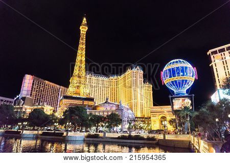 LAS VEGAS USA - AUGUST 21 2017: Las Vegas Strip with hotels and casinos at night time. Editorial.
