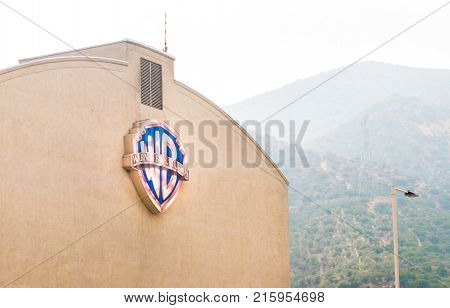 LOS ANGELES USA - AUGUST 24 2017: Warner Brothers logo on a building in Burbank. Warner Bros is an American entertainment company. Editorial.
