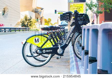 LOS ANGELES USA - AUGUST 27 2017: Metro Bike Share is a bike sharing and rental system in Los Angeles. Editorial.