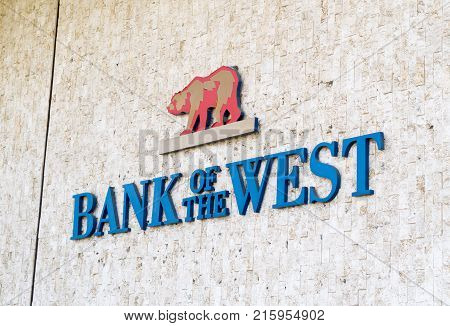 LOS ANGELES USA - AUGUST 28 2017: The logo of Bank of the West. Bank of the West is a regional financial services company and it operates in the Midwest and Western United States. Editorial.