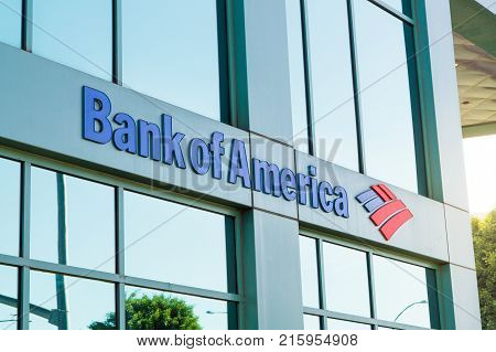 LOS ANGELES USA - AUGUST 28 2017: The logo of Bank of America in modern office building in Beverly Hills. Bank of America is a banking and financial services corporation. Editorial.