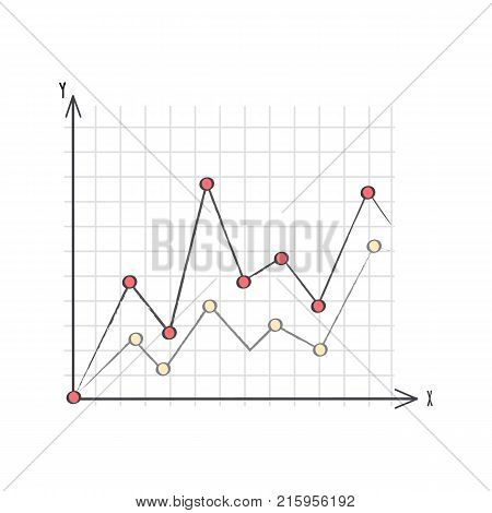 Line graph data presentation with two different lines compared in one coordinate system. Vector illustration of graphic isolated on white background