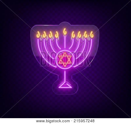 Chanukah vector design - Happy Hanukkah. Neon sign, bright luminous banner for greetings cards. Jewish holiday. Neon sign on transparent glass. Hanukkah Menoru.