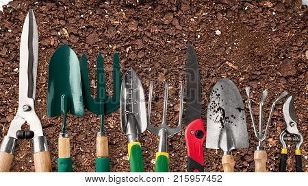 Row garden tools gardening garden tools yellow group