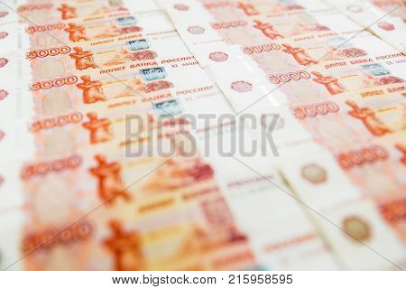 Russian banknote 5000 rubles background. Russian Ruble