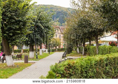 Sighisoara Romania October 08 2017 : Fragment of Hermann Oberth square near to the entrance to the old town in Sighisoara city in Romania