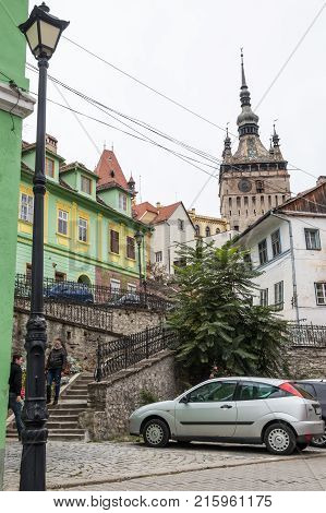 Sighisoara Romania October 08 2017 : Tower Street located near the castle in old city. Sighisoara city in Romania