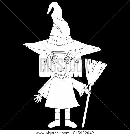 A Cute Halloween Costume. Lovely Girl In A Witch Costume. The Costume Includes A Witch Cap, A Broom,