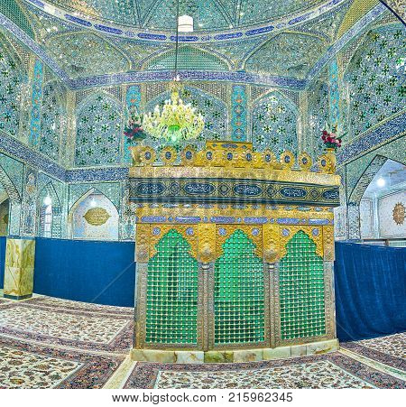 YAZD IRAN - OCTOBER 17 2017: Holy Shrines of Iran boasts beautiful interior decorated with small pieces of glass on October 17 in Yazd