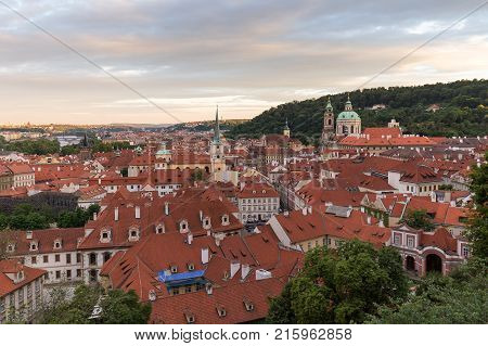 View of old buildings at the Mala Strana District (Lesser Town) in Prague, Czech Republic, in the early evening.