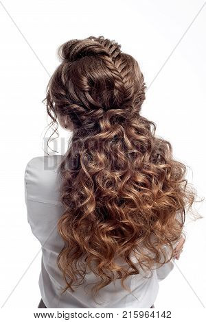 Rear View Of Female Hairstyle.