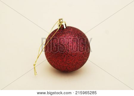 Decorated Cristmas Red Sparkle Ball, Isolated. Vntage