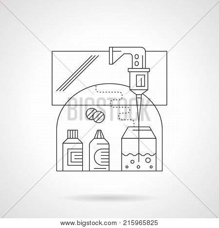 Abstract illustration of drug development. Preparation of antiviral and antibacterial agents in laboratory. Medicine bottles, tablets, dropper with test liquid. Detailed flat line vector icon.