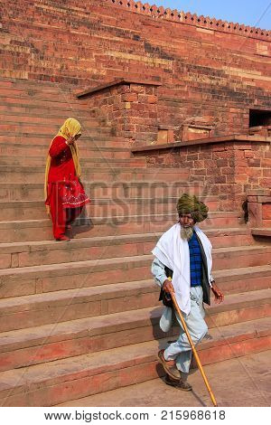 Fatehpur Sikri, India-january 30: Unidentified People Walk Down The Stairs From Jama Masjid On Janua