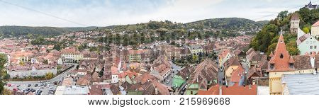 Sighisoara Romania October 08 2017 : View from the Clock Tower to the old city. Sighisoara city in Romania