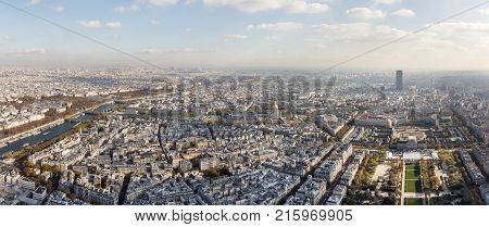 PARIS FRANCE: The Champ de Mars. Cityscape of Paris City. Aerial view on Paris city and Field of Mars from the top of Eiffel tower