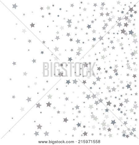 Abstract Pattern Of Random Falling Silver Stars On White Backgro