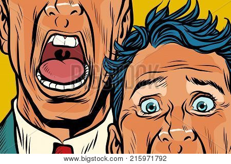 Close-up of eyes and mouth men cry, panic face. Pop art retro vector illustration