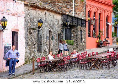 Colonia, Uruguay - December 7: Street Cafe On December 7, 2014 In Colonia Del Sacramento, Uruguay. C