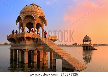 Jaisalmer, India-february 15: Unidentified People Stand At Gadi Sagar Temple On February 15,2011 In