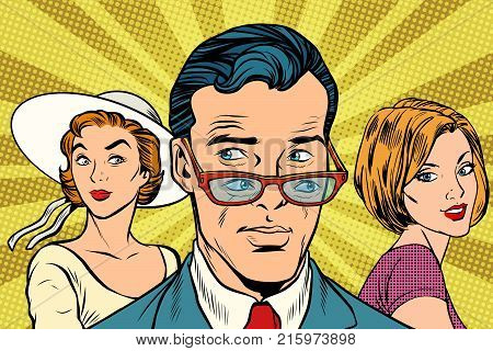 Handsome man looking at two women. Love and romance. Pop art retro vector illustration