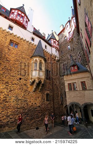 Eltz, Germany - May 25: Inner Courtyard Of Eltz Castle On May 25, 2017 In Rhineland-palatinate, Germ