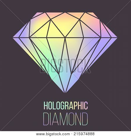 Vector holographic gradient diamond stone isolated on transparent background. Can be used as template for cover, presentation, brochure. Easy to modify and resize. Made using full vector gradient mesh
