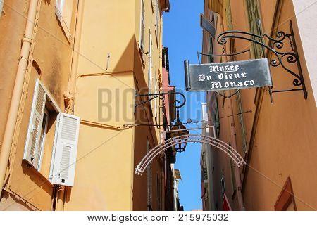 Monaco-ville, Monaco - July 11: Houses Along Narrow Street On July 11, 2015 In Monaco-ville, Monaco.