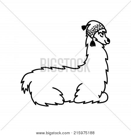 Vector illustration of cute character south America lama in winter hat and scarf. Isolated outline cartoon baby llama. Hand drawn Christmas Peru animal guanaco, alpaca, vicuna. Drawing for print.