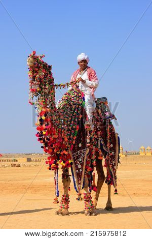 Jaisalmer, India - February 17: Unidentified Man Rides Camel During Desert Festival On February 17,