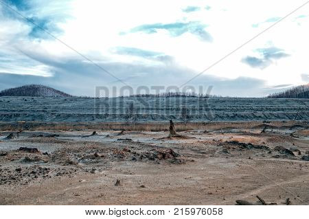 The consequence of ecological catastrophe in Karabash city due to copper mining and processing. One of the most dirty places in the world. Greenpeace, copper smelter, environmental problems.