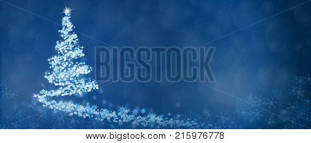 Christmas time. Christmas tree with stars and snowflakes in blue winter landscape.
