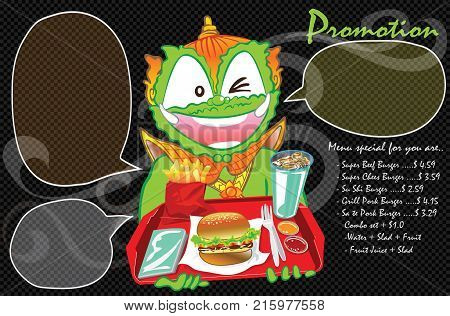 Burger with soft drink fast food and beverage set Thai cartoon acting for promotion advertisement design has bubble are copy space and your food image.