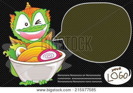 Thai cartoon acting is serving a udon noodle design has bubble for copy or your image and transparency.