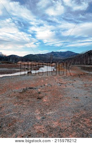 Ecological disaster in the city of Karabash, the dirtiest place on the planet. Greenpeace, copper smelter, environmental problems. Copper in the ground, copper mining.