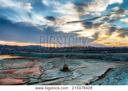 Land contaminated with copper processing waste products. Consequence of ecological catastrophe in the city of Karabash due to copper mining and processing. Dirtiest places on the planet. Greenpeace.