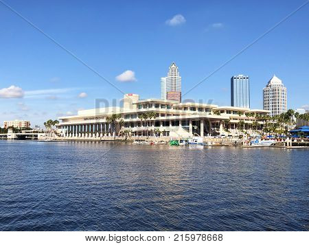 Tampa Florida - November 22 2017: The Tampa Convention Center a convention center located in downtown Tampa at the mouth of the Hillsborough River. It has both waterfront views of Tampa Bay and views of the city's skyline.