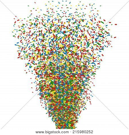 Colorful confetti cannon shot. Vector illustration ESP