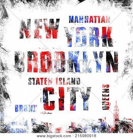 New York city art. Street graphic style NYC. Fashion stylish print.
