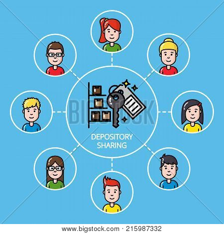 Shared depository concept with group of people vector