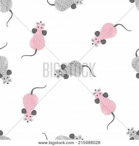 Seamless pink and grey cute mouse pattern. Vector background with cartoon mice.