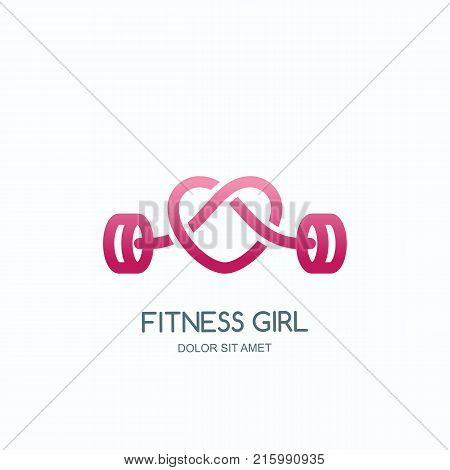 Female Fitness Gym. Vector Logo, Icon Or Emblem With Pink Barbell Heart Shape. Design For Woman Spor